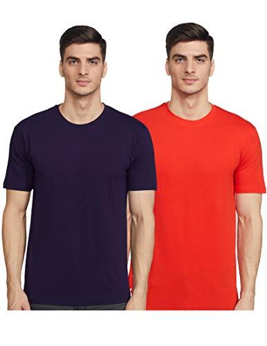 Joshua Tree Men's Plain Regular fit T-Shirt (Pack of 2) (RB-03_Red and Black L)