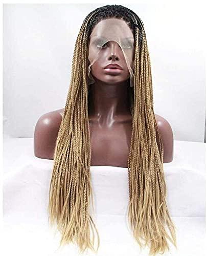 Chtom Bionda intrecciata parrucche anteriori in pizzo intrecciata Donne lunghe Braid Gradiente Gold Parrucca sintetica Africano Brasiliano Treccia Parrucche Rock Halloween Parrucca Cosplay Costume ani