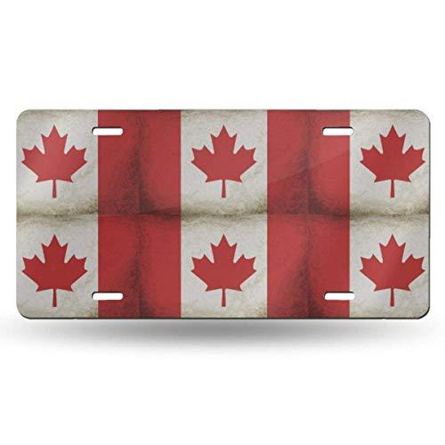 BEDKKJY Kennzeichen der kanadischen Flagge Dekoratives Autokennzeichen, Waschtischschild, Autokennzeichen aus Metall, Aluminium-Neuheitskennzeichen, 6 x 12 Zoll