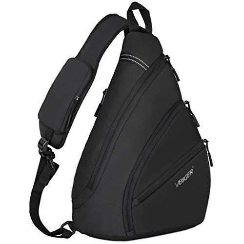 VBIGER Brusttasche Herren Schultertasche Sling Rucksack Crossbody bag Daypack für Outdoorsport, Wandern, Radfahren, Bergsteigen (schwarz)