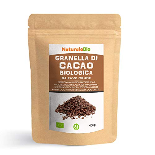 Roh Kakao Nibs Bio 400g. Organic Raw Cacao Nibs. 100 % Rohkost, natürlich und rein. Produziert in Peru aus der Theobroma Cocoa Pflanze. Quelle für Magnesium, Kalium und Eisen.