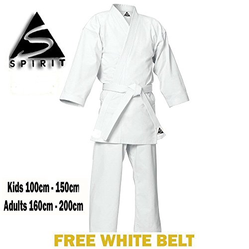 KARATE 9 Onzas polly-cotton Blanco Karate Uniforme - Blanco, 4/170cm