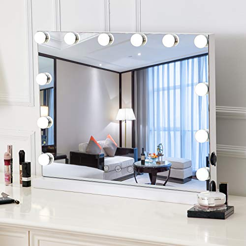 HOMPEN Lighted Vanity Mirror with Light, Lighted Makeup Mirror with LED Dimmable Bulbs -White