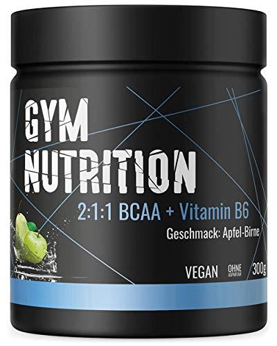 BCAA + Vitamin B6 hochdosiertes Pulver - Leucin, Isoleucin, Valin 2:1:1 - in deutscher premium Qualität - Vegan (Apfel-Birne)