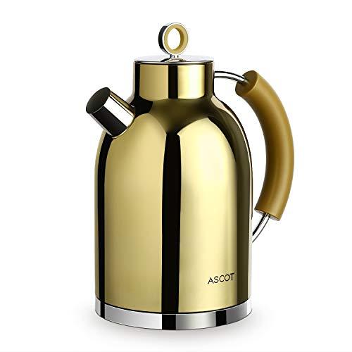 Wasserkocher Edelstahl, ASCOT Elektrischer Wasserkessel, 2200 W, 1,6 liter, Retro Design, kabelloser Teekocher, BPA frei, Trockengehschutz, automatische Abschaltung (Gold)