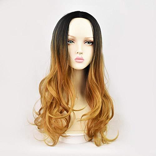 Dames à la mode mi-point bouclés cheveux teinture capuche haut de gamme rose net haute température perruque de soie