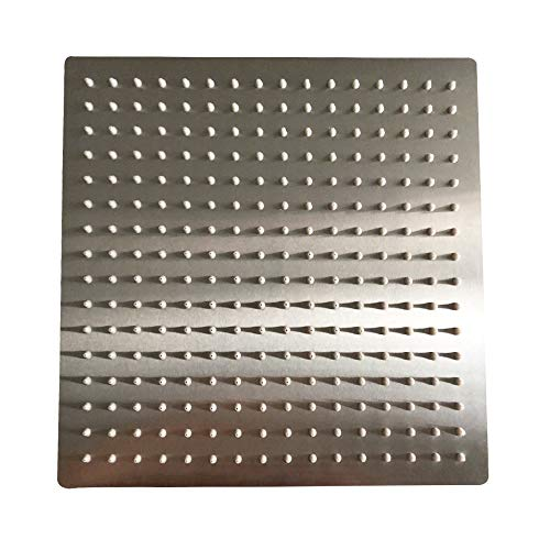 """BESy 12 Inch Rain Shower Head, 12"""" Square Rainfall & High Pressure Stainless Steel Bath Shower Head, 1/16"""" Ultra Thin, Waterfall Full Body Coverage with Silicone Nozzle, Non Fingerprint Brushed Finish"""