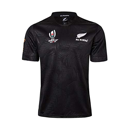 DIWEI Jersey de Rugby, 2019 Copa Mundial Nueva Zelanda Todos los Negros Camiseta de Rugby, Hogar and Away Rugby Jersey, Partidario Fútbol Sport Top Black-XXL