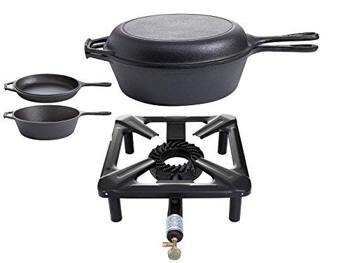 PaellaWorld 3030 + 9763 Réchaud avec Puissance 8,5 KW, Dimensions : 40 x 40 x 17 cm et Set de Pot de poêle en Fonte Ø 26 cm