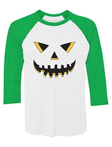 Jack O' Lantern Smiling Pumpkin Face Halloween 3/4 Sleeve Baseball Jersey Shirt Medium Green/White
