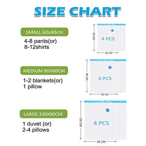 BoxLegend Vakuumbeutel 12 Stück Dickere Art 100 Mikron Aufbewahrungsbeutel Reise 4 * 100x80 +4 * 80x60 + 4 * 60x40cm Wiederverwendbar Kleiderbeutel für Kleidung Bettwäsche Kissen