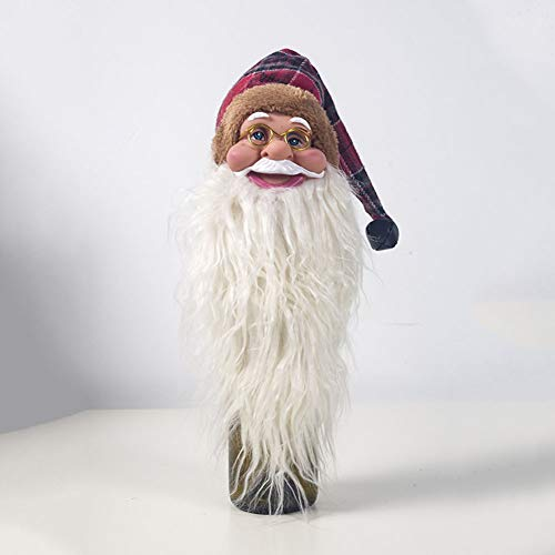 FairOnly Decoraciones navideñas PVC Santa Cluas Tapa de Botella de Vino Decoración de Botella Cabeza de Cuadros Viejos