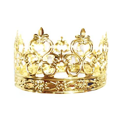 Cabilock 1 x Kinderkrone, hohles Eisen, gemusterte Krone, Kuchendekoration für Party, Geburtstag (allgemeines Muster, goldfarben).