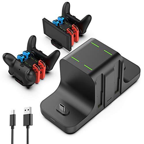 GeeRic Ladestation Kompatibel für Switch,6 IN 1 Switch Joy Con Ladegerät joycon ladestation Lade Dock Zubehör für Switch Konsole Pro Controller mit Typ-C USB Port