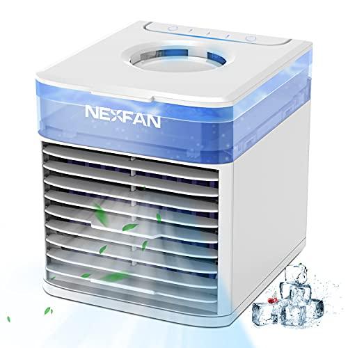 Enfriador de Aire Portátil,Mini Aire Acondicionado con Sistema de Esterilización,USB 4 en 1 Mini Climatizador Móvil con Tanque de Agua y Luz LED de 7 Colores para El Hogar, La Oficina