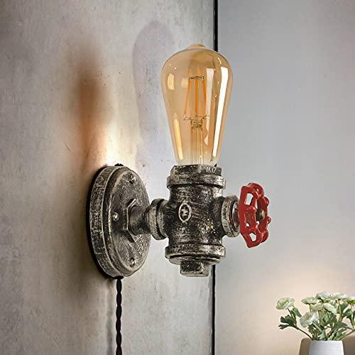 Applique da parete industriale con gabbia metallica, lampada da parete rustica con cavo plug-in, lampada da parete vintage E27 in metallo base puleggia di sollevamento illuminazione retro decorazione