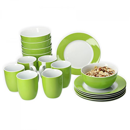 Van Well Frühstücksset 18-TLG. für 6 Personen Serie Vario Porzellan - Farbe wählbar, Farbe:grün