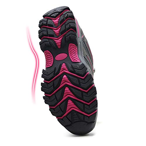 BomKinta Women's Hiking Shoes Anti-Slip Lightweight Breathable Quick-Dry Trekking Shoes for Women Grey Size 8