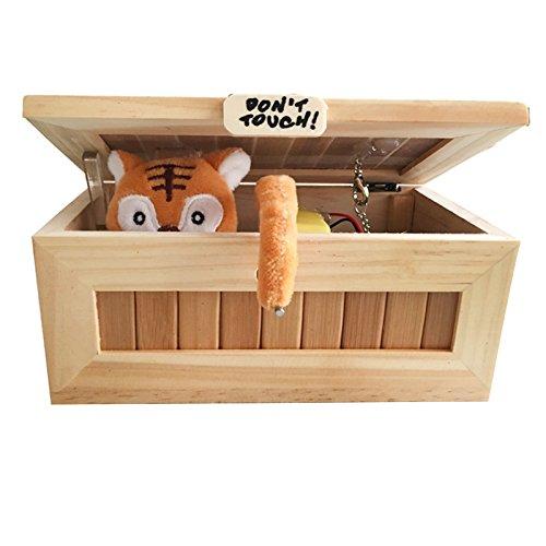 Metermall Home houten nutteloze doos Laat me alleen doos Meest nutteloze hine Raak Tiger Toy Gift niet aan met Light USB Charging White