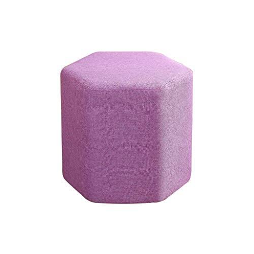 Stof massief hout, voetensteun, sofakruk, theekruk, afneembaar en wasbaar, woonkamer, zeskantige vorm, stapelbaar, luchtdoorlatendheid, veelzijdig inzetbaar, H