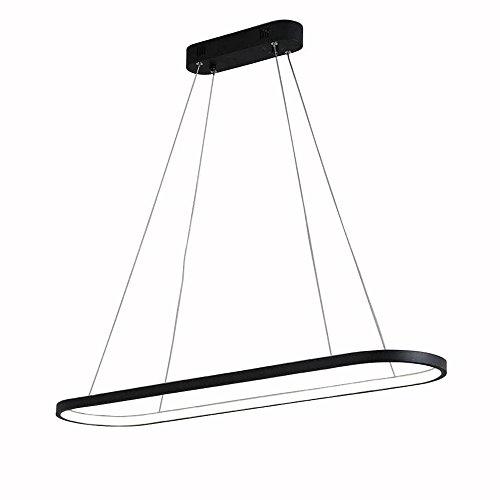 Pumpink LED Kronleuchter Moderne Oval Track Led Pendelleuchte Einfache Aluminium Ring Deckenleuchte Suspension Droplight Für Messehalle Durchmesser 90 cm (Color : Black-White light)