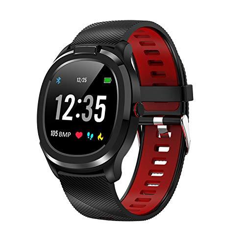 Pulsera de actividad deportiva compatible con Android iOS Bluetooth Touch la pantalla de color Smart Watchers con monitor cardíaco y presión arterial, rojo, L