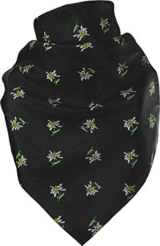 Harrys-Collection Feines Tuch mit Edelweiss in vielen Farben 60 X 60 cm, Farben:schwarz