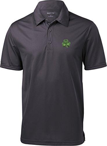 Buy Cool Shirts St Patricks Day Shamrock Patch Pocket Print Textured Polo, Iron Grey, Small