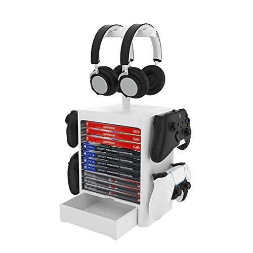ZRXRY PS5-Spielspeicherung, Spieler-Spielsturm für PS5, Game Disk Rack und Controller/Headset Standhalter kompatibel mit Xbox Serie X/Nintendo Switch / PS4 / PS5,Weiß