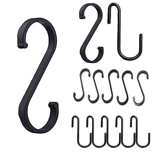 Sweieoni 15 Stück Schwarz S-Haken Space Aluminium S-förmiger Haken Stabile Haken, S Haken Hängende für Küchenwerkzeug, Pfannen, Töpfe, Utensilien, Kleidung, Taschen, Handtücher (Schwarz)