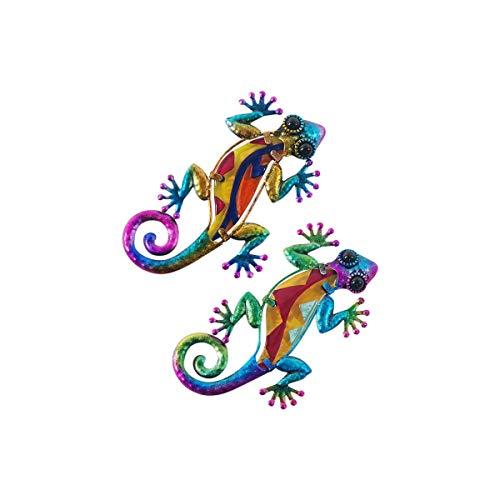 CAPRILO. Set de 2 Apliques Pared Decorativos de Metal Lagartos Multicolores. Cuadros y Adornos. Decoración Hogar. Jardín. Animales. Regalos Originales. 15,50 x 8 x 0,50 cm.