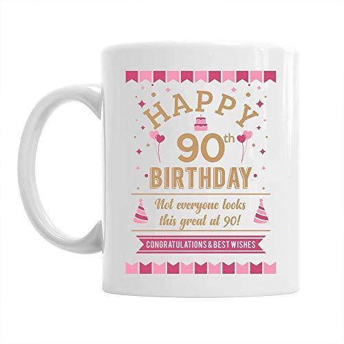 90th Happy Birthday Gift Mug Present for 90 Women 10oz Coffee Mug