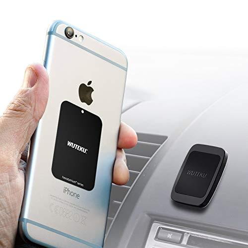 WUTEKU Support magnétique de téléphone pour Voiture avec aimants pour Tenir des téléphones comme iPhone XR, XS, X 8, 7 et 7 Plus, Galaxy S8 et S8 Plus avec système de Fixation de qualité Industrielle