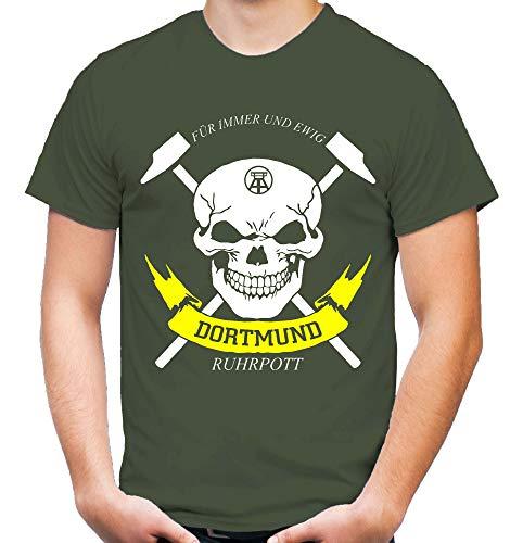Dortmund Zeche Männer und Herren T-Shirt | Fussball Ultras Ruhrpott Fan (XL, Oliv)