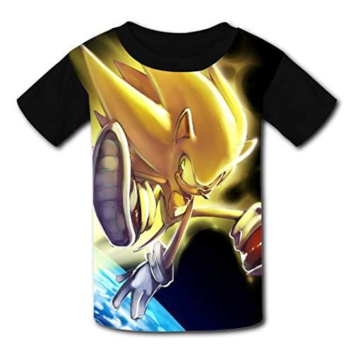 maichengxuan T-Shirt Short Sleeve Kids Tee Shirt Sonic Space Earth Fashion Tshirt for Girls&Boys Black