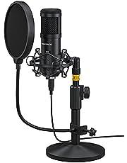 Sudattack USB-microfoon, professionele podcast-microfoon, 192KHZ / 24bits studio cardioïde condensatormicrofoons kit met geluidskaartstandaard Shock Mount popfilter voor Skype, radio, YouTube, Podcasts en nog veel meer