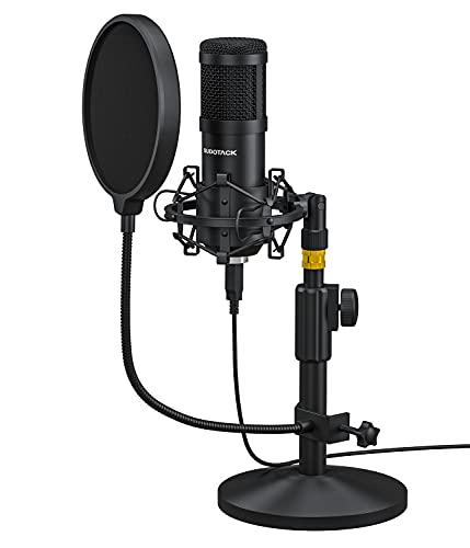 USB Mikrofon, SUDOTACK professionelles PC mikrofon 192Khz / 24Bit Studio Cardioid Kondensatormikrofon Kit mit Ständer, Shock Mount, Pop-Filter, für Skype, Streaming, YouTube,Podcast,Zoom