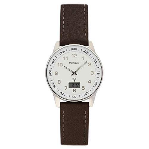 Elegante MARQUIS Herren Funkuhr (Junghans-Uhrwerk) Lederarmband mit Edelstahlverschluss, Gehäuse aus Edelstahl 964.6006
