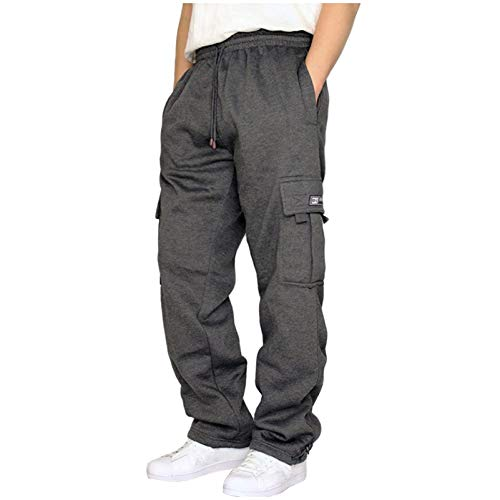 Youmymine Men's Rope Loosening Waist Solid Color Pants Sweatpants Sports Baggy Trousers Jogger with Pockets (Dark Gray, L)