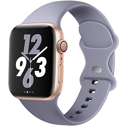 Acrbiutu Bands Compatible with Apple Watch 38mm 40mm 42mm 44mm, Replacement Soft Silicone Sport Strap for iWatch SE Series 6/5/4/3/2/1 Women Men, Lavender Gray 38mm/40mm S/M