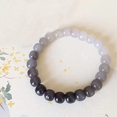 N/A Pulsera de círculo único de Jade Hetian Natural 7 * 8 mm Pulsera de Degradado púrpura de Humo de círculo único Antiguo para Hombres y Mujeres Simple y viceversa