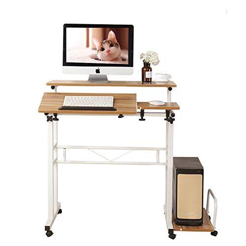 Lzet Mesa auxiliar portátil de altura ajustable, mesa auxiliar portátil, mesita de noche, mesa de sofá, color blanco