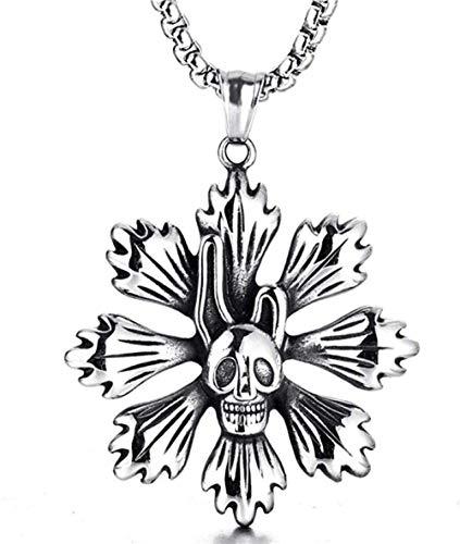 Collana con ciondolo da uomo Ciondolo con fiore in acciaio inossidabile Accessori per personalità retrò Ciondolo con teschio in acciaio al titanio