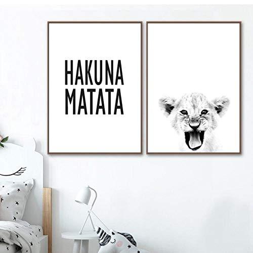 TeriliziBaby Lion Print Wildlife Tier Schwarz Weiß Fotografie Poster Hakuna Matata Zitat Skandinavischen Kunst Leinwand Gemälde Home Decor-50X70Cmx2 Kein Rahmen