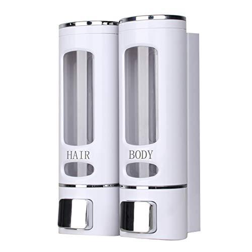 ILIKEPOW Dispensador de Jabón líquido Manual ABS Soporte de Pared para Cocina o Baño 2X 400ml Blanco