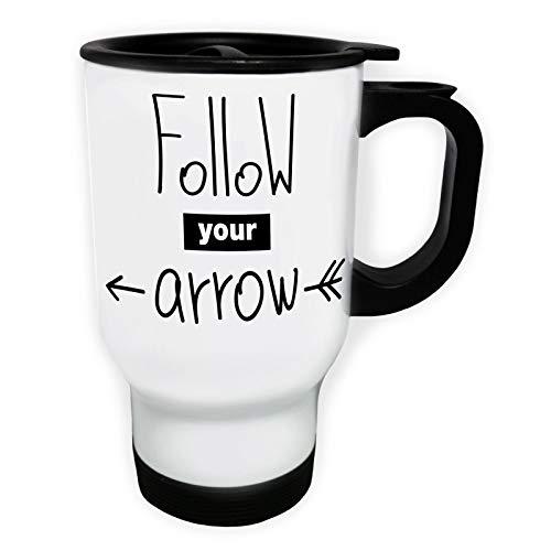 Follow Your Arrow Tasse de voyage thermique blanche 14oz 400ml ff737tw