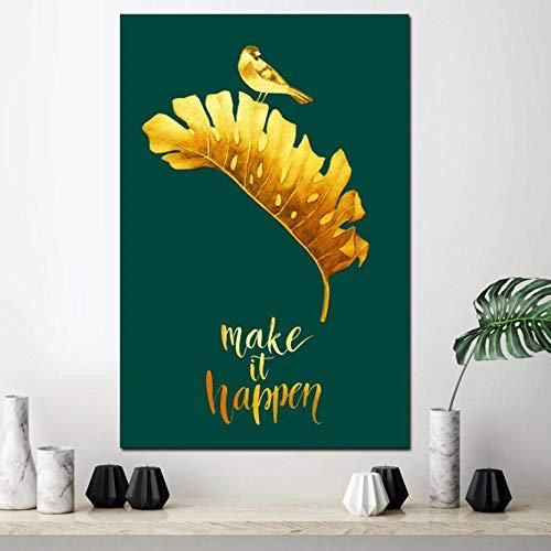 Modulaire foto's muur Artwork Gedrukt Canvas Schilderij Laat het gouden blad en de vogel Happen Poster voor Woonkamer Home Decoratie 40*60CM With frame