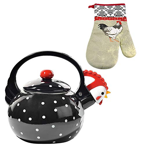 HOME-X Black Rooster Whistling Tea Kettle, Cute Animal Teapot, Kitchen Accessories and Rooster 100% Cotton Oven Mitt for Cooking and Serving, Baking Kitchen Cooking Mittens BBQ Grilling