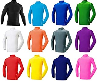 裏起毛長袖ドライフィットインナーアンダーシャツハイネック赤黒白グレー緑オレンジ黄紫青水色濃紺ピンク