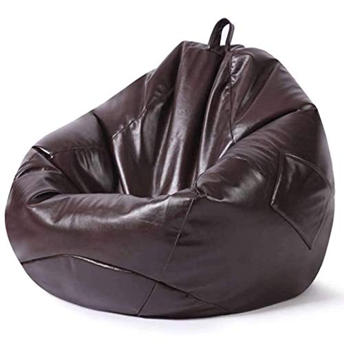 Bean Bag Cover Without Filling, Imitation PU Leather Waterproof Gaming Beanbag Chair with Handle and Side Pockets for Bedroom Living Room Garden,Chocolate,XL
